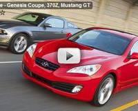 Genesis Coupe, 370Z, Mustang GT drag race