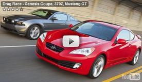 Genesis Coupe, 370Z, Mustang GT drag race