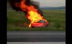 Ferrari F430 in flames after crash