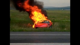Ferrari F430 in flames after crash