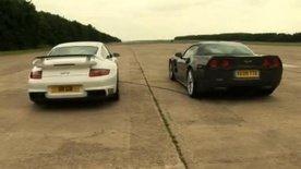 Porsche 911 GT2 vs Corvette ZR1 video