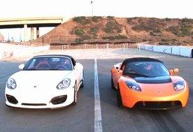 Porsche Boxster Spyder vs Tesla Roadster Sport