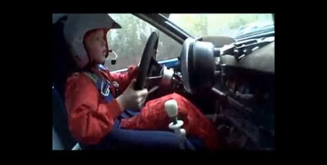 8 year old driving rally car