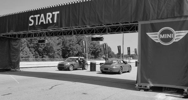 Mini Cooper S beaten by Porsche 911 Carrera S in Road Atlanta race
