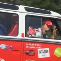 Jenson Button and Lewis Hamilton in VW Camper Van Trip