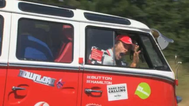 Jenson Button and Lewis Hamilton in VW Camper Van Trip