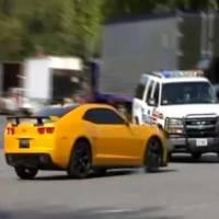 Video: Bumblebee Camaro Crashes into Cop Car