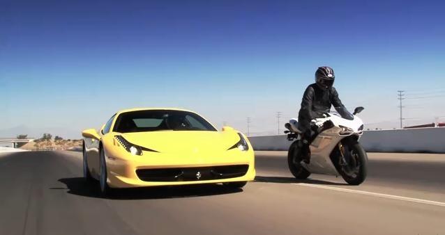 Ferrari 458 Italia vs Ducati 1198S video