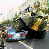 Video: Mercedes S Class Crushed by Mayor with Armored Carrier