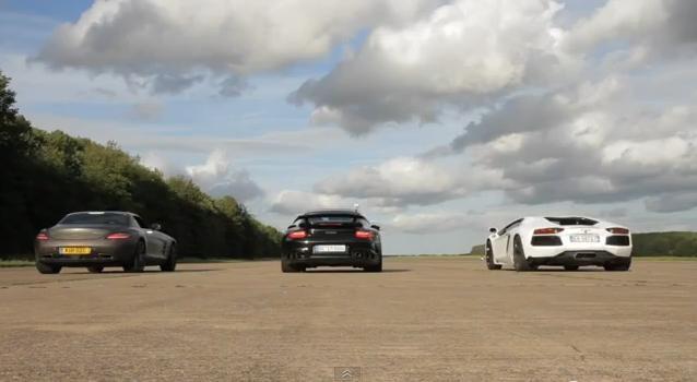 Video: Lamborghini Aventador vs 911 GT2 RS vs SLS AMG