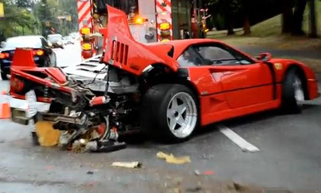 Ferrari F40 crashes in Canada because of the rain