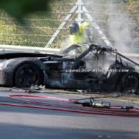 Mercedes-Benz SLS AMG Black Series prototype burns on the Ring