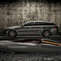 2013 Jaguar XF Sportbrake introduced along a speed boat