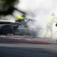 Mercedes-Benz SLS AMG Black Series prototype burns on the Ring