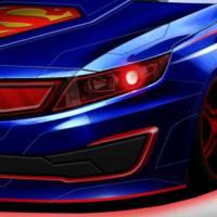 Kia Optima dressed in Superman clothes