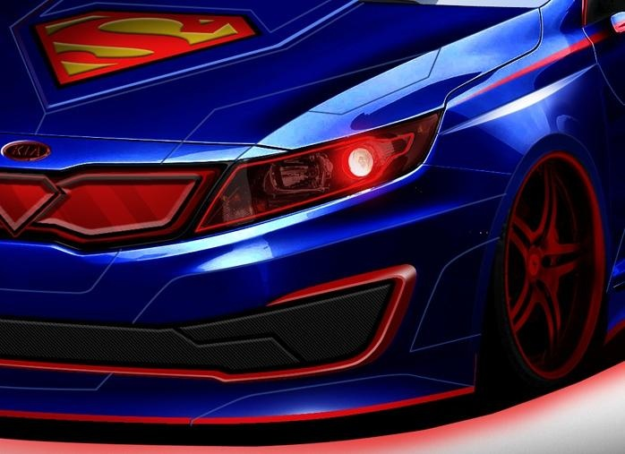 Kia Optima dressed in Superman clothes