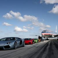 Lamborghini Aventador Roadsters parade on Miami Airport runway