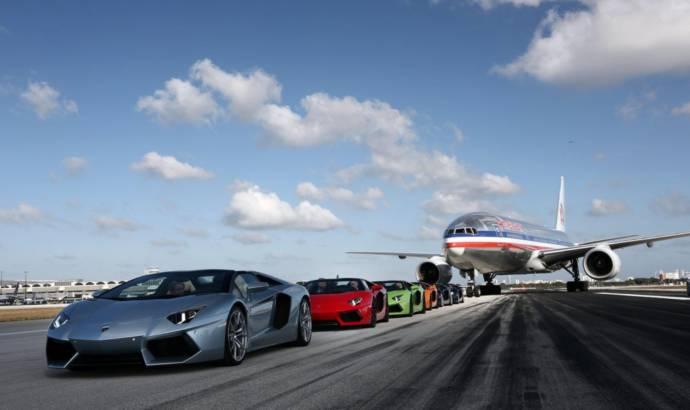 Lamborghini Aventador Roadsters parade on Miami Airport runway