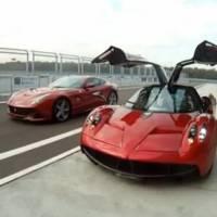 Video: Pagani Huayra versus Ferrari F12 Berlinetta on the track