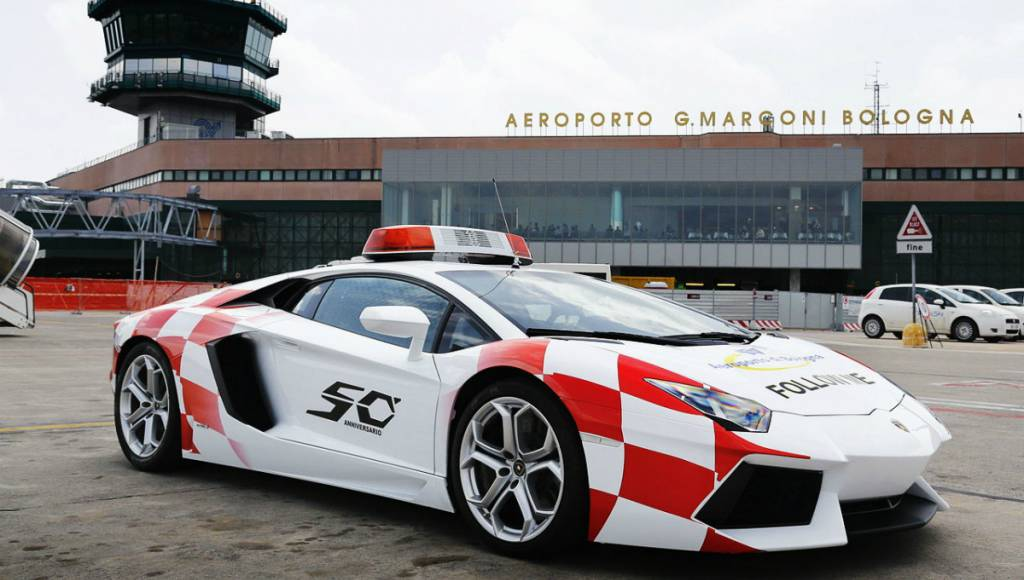 Lamborghini Aventador Follow Me car at Bologna Airport
