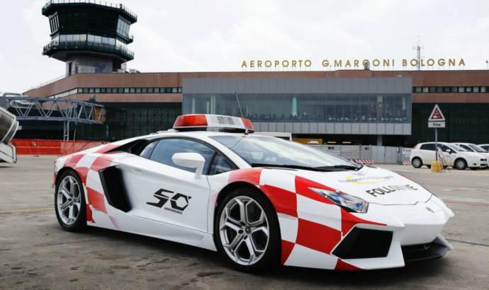 Lamborghini Aventador Follow Me car at Bologna Airport