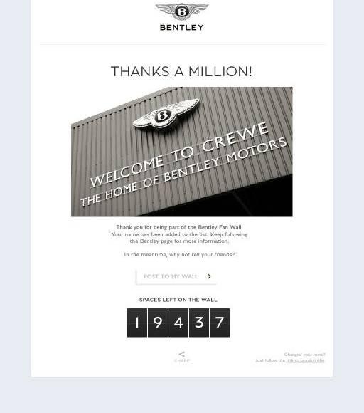 Bentley reaches 1 million Facebook fans