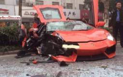 Lamborghini Aventador destroyed by a bus in China