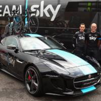 A one-off Jaguar F-Type R Coupe is a support vehicle for Tour de France