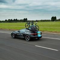 A one-off Jaguar F-Type R Coupe is a support vehicle for Tour de France