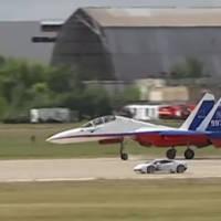 Lamborghini Huracan battles a Sukhoi jet fighter