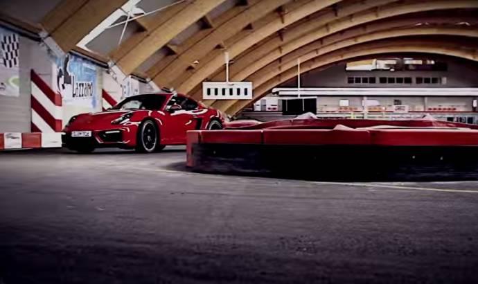 Porsche Cayman GTS is having fun on a Go-Kart track (Video)