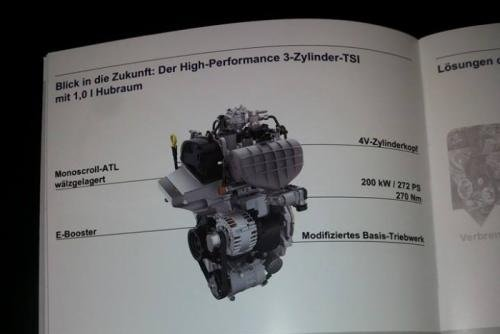 Volkswagen has revealed the 3-cylinder 1.0 engine with 272 HP