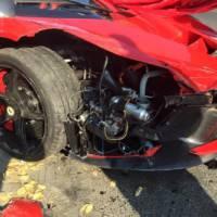 Ferrari LaFerrari hits three parked cars
