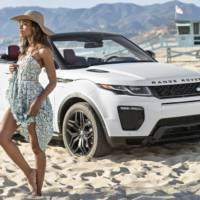 Naomie Harris, the Bond girl, poses next to Range Rover Evoque Cabrio