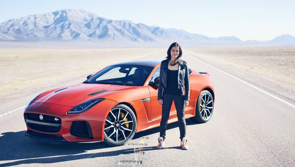 Michelle Rodriguez reaches 201 mph in a Jaguar F-Type SVR