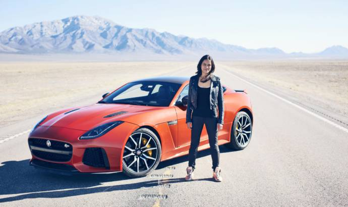 Michelle Rodriguez reaches 201 mph in a Jaguar F-Type SVR