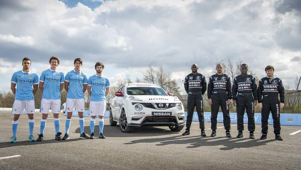 Manchester City football players swap places with Nissan GT Academy pilots