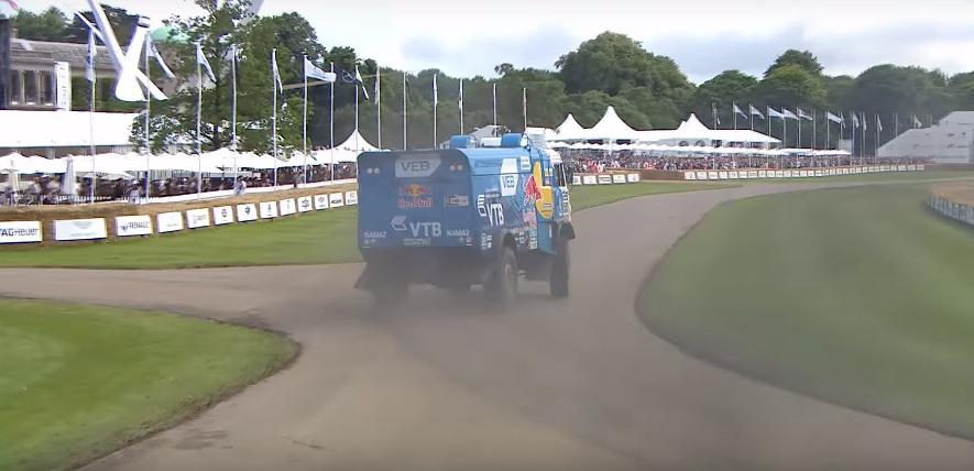 A Dakar Red Bull Kamaz truck going sideways at Goodwood