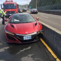 Awkward moment. Acura NSX crashed by journalist who balmes bees