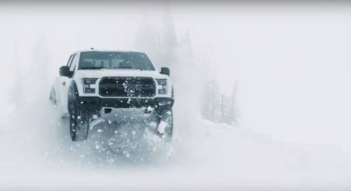 Ken Block drives the 2017 Ford F-150 raptor in the snow
