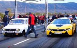 Modified Dacia 1300 tackles a BMW i8