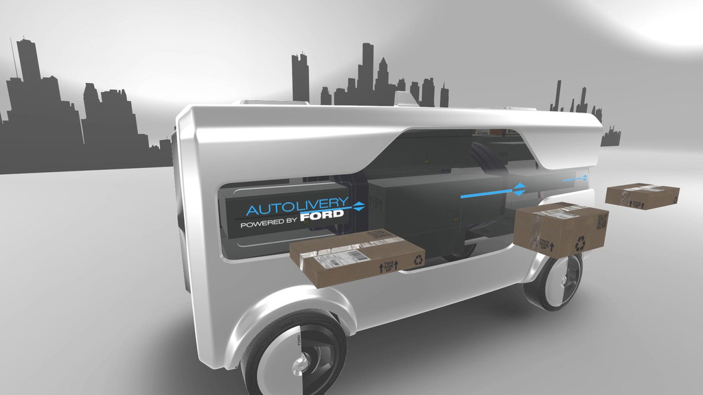Ford unveiled an autonomous delivery vehicle with drone delivery
