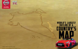 NIssan GT-R draws the worlds largest country map