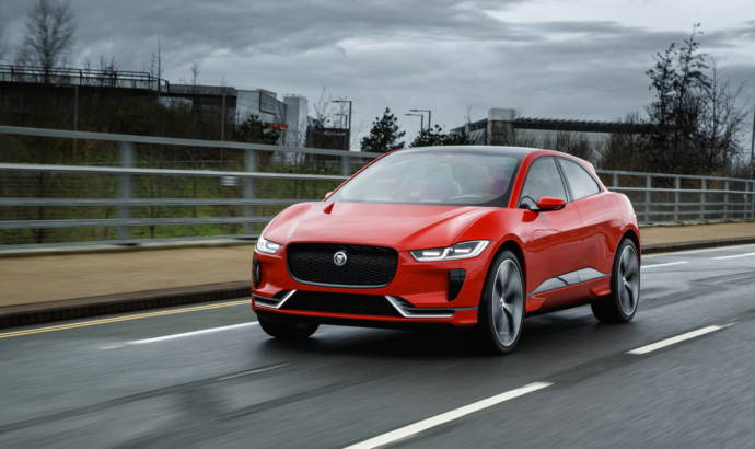 Jaguar I-Pace electric SUV on the streets of London