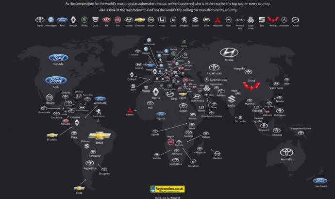 Here is the map with the top selling manufacturer in every country