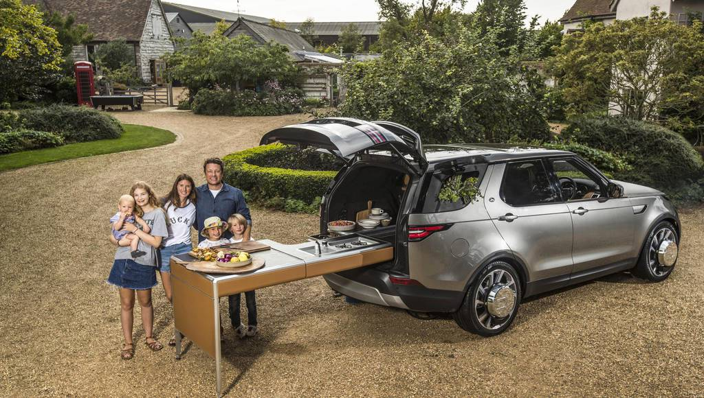 Land Rover Discovery transformed in a mobile kitchen for Jamie Oliver