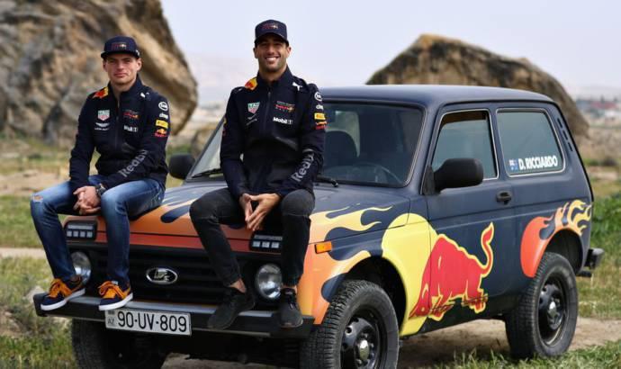 Daniel Ricciardo and Max Verstappen trade the F1 cars for a Lada Niva