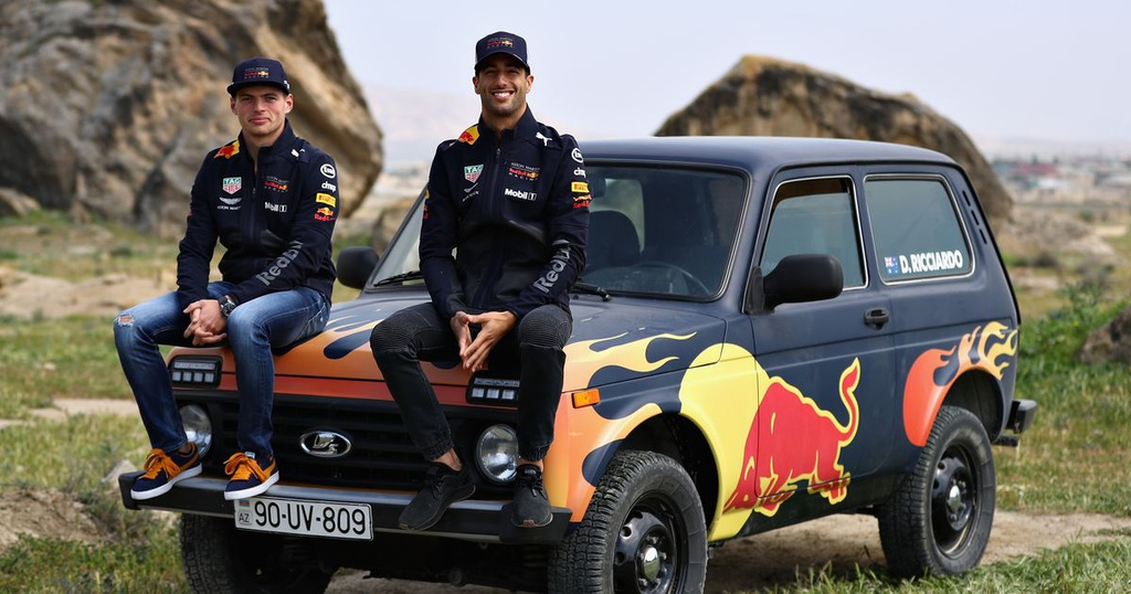 Daniel Ricciardo and Max Verstappen trade the F1 cars for a Lada Niva