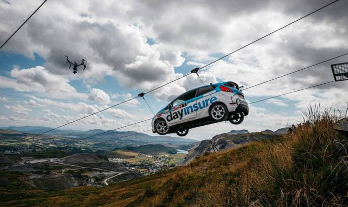 This Ford Fiesta R2 is coming down on a zip line in Wales
