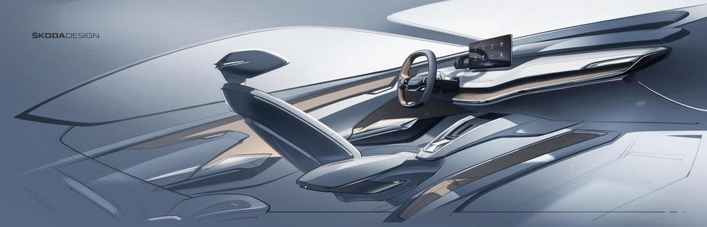 Skoda Vision IV interior sketches revealed